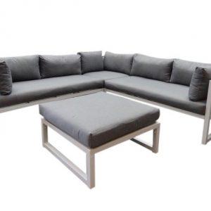Fabri hoek loungeset 4-delig wit aluminium