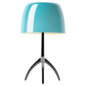 Foscarini Lumiere Piccola tafellamp met aan-/uitschakelaar en verchroomd onderstel turquoise