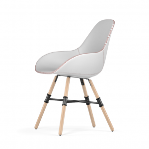 Kubikoff Giro stoel - Dimple Tailored shell - Leer - Houten onderstel -