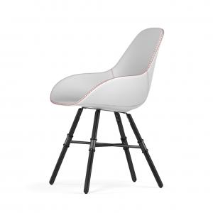 Kubikoff Giro stoel - Dimple Tailored shell - Leer - Zwart onderstel -