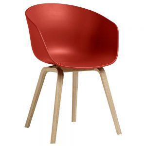 Hay AAC22 stoel met gelakt onderstel kuip warm rood