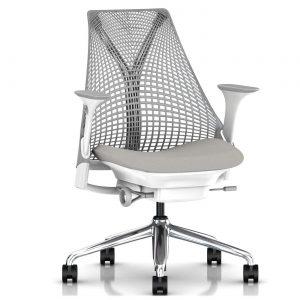 Herman Miller Sayl bureaustoel wit aluminium onderstel
