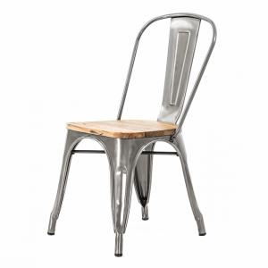 Legend Caf? stoel - Houten zitting - Chaise A - Industrieel - Stoer - Metaal