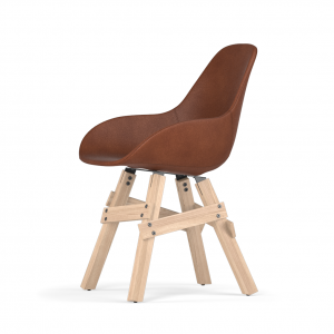 Kubikoff Icon stoel - Dimple POP shell - Leer - Eikenhouten onderstel -