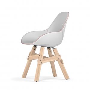 Kubikoff Icon stoel - Dimple Tailored shell - Leer - Eikenhouten onderstel -