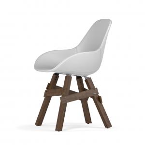 Kubikoff Icon stoel - Dimple POP shell - Kunstleer - Walnoten onderstel -