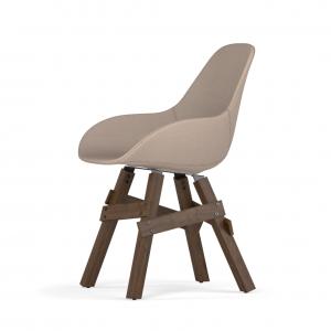 Kubikoff Icon stoel - Dimple POP shell - Stof - Walnoten onderstel -
