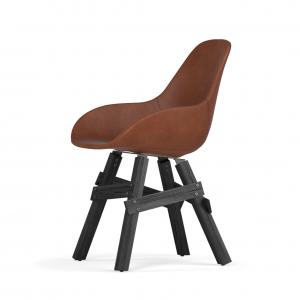 Kubikoff Icon stoel - Dimple POP shell - Leer - Zwart onderstel -