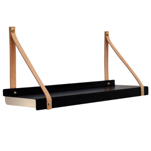 Shelfie plank met lamp zwart