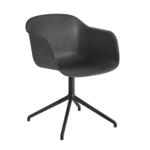 Fiber Swivel stoel met armleuning zwart