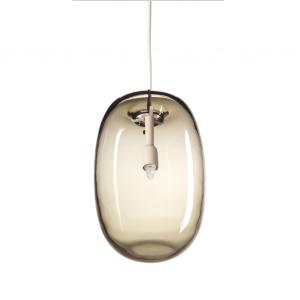 Pebble pendant langwerpig warm grijs-glas