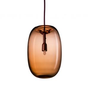Pebble pendant langwerpig geoxideerd rood-glas