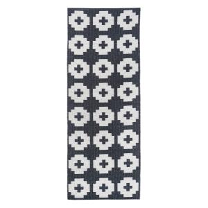 Flower vloerkleed beluga (zwart) 70 x 300 cm.