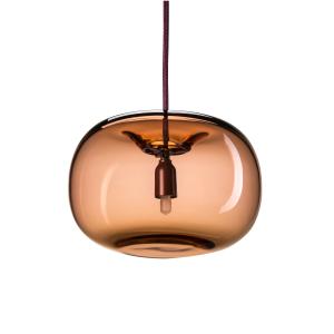 Pebble pendant plomp geoxideerd rood-glas