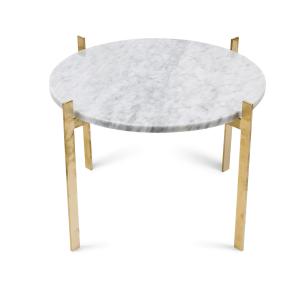 Single deck tafel Ø57 H38 - messing onderstel wit marmer