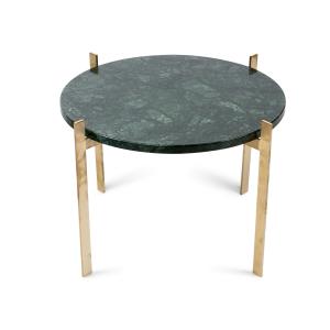 Single deck tafel Ø57 H38 - messing onderstel groen marmer