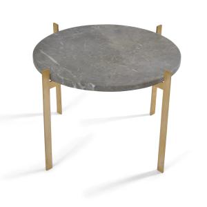 Single deck tafel Ø57 H38 - messing onderstel grijs marmer