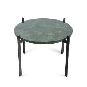 Single deck tafel Ø57 H38 - zwart onderstel groen marmer