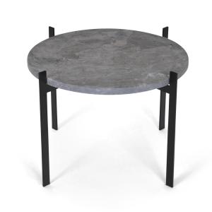 Single deck tafel Ø57 H38 - zwart onderstel grijs marmer