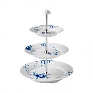 Blue Fluted mega taartstandaard 3-laags 35 cm.