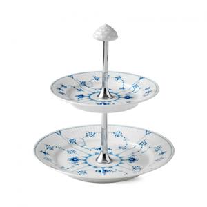 Blue fluted plain taartstandandaard 2-laags 24 cm.