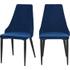 2 x Julietta eetkamerstoelen, elektrischblauw fluweel