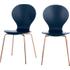 2 x Kitsch eetkamerstoelen, blauw en koper