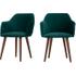 2 x Lule stoelen met hoge rug, waterblauw fluweel