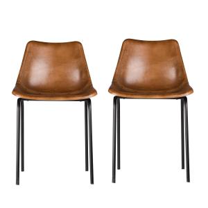 Auckland stoel 2-pack bruin