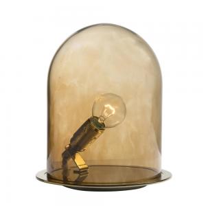 Glow in a Dome tafellamp S, 21 cm. messing-walnootbruin