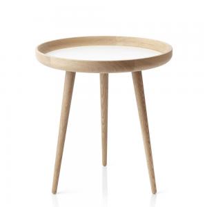 Tisch tafel Ø 49 cm. eiken-wit