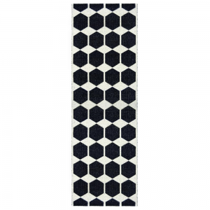 Anna vloerkleed zwart 70 x 300 cm.