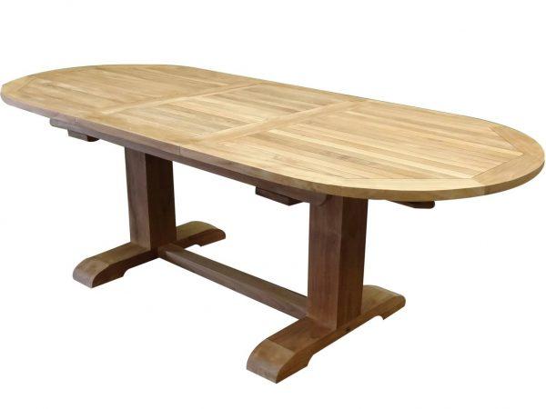 Ovaal uitschuifbare lounge-diningtafel 160-210x90xH70 cm teakhout bladdikte 4 cm