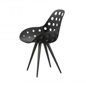 Kubikoff Angel stoel - Dimple holes - Zwart onderstel- Design kuipstoel