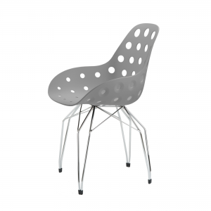 Kubikoff Diamond stoel - Dimple holes - Chroom onderstel - Kuipstoel eetkamer - Grijs