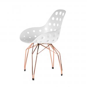 Kubikoff Diamond stoel - Dimple holes - Koper onderstel - Eetkamerstoel kuip - Retro