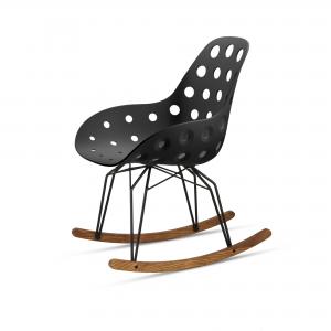 Kubikoff Diamond Rocking schommelstoel - Dimple holes - Zwart onderstel - Kubikoff Diamond schommelstoel - Dimple Holes - Design kuipstoel