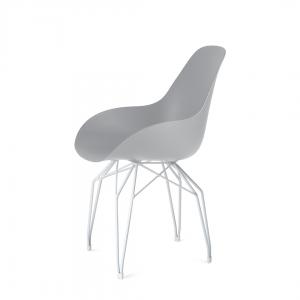 Kubikoff Diamond stoel - Dimple closed - Wit onderstel - Eetkamerstoel kuip - Retro