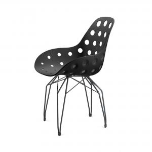 Kubikoff Diamond stoel - Dimple holes - Zwart onderstel - Eetkamerstoel - Metalen onderstel