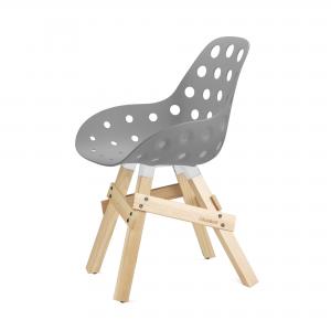 Kubikoff Icon stoel - Dimple holes - Eikenhouten onderstel- Eetkamerstoel kuip