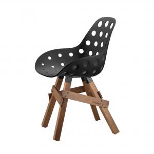 Kubikoff Icon stoel - Dimple holes - Walnoten onderstel- Design kuipstoel