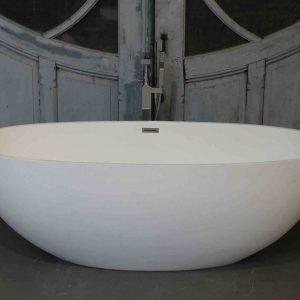 Luca Vasca vrijstaand bad 180x80cm ovaal Mineral Stone glans wit