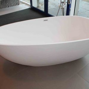 Luca Vasca vrijstaand bad 183x85cm ei-vormig Mineral Stone glans wit