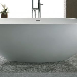Luca Vasca vrijstaand bad 180x93cm ovaal Mineral Stone mat wit