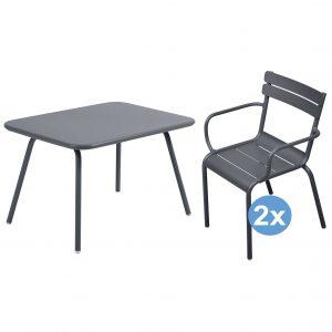 Fermob Luxembourg tuinset 76x56 kindertafel + 2 stoelen (armchair)