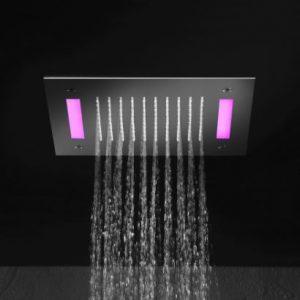 Hotbath Mate M174 hoofddouche vierkant 30cm met LED verlichting geborsteld nikkel