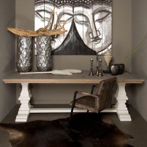 Tower Living Kloostertafel 'Toscana' 260 x 100cm, kleur wit