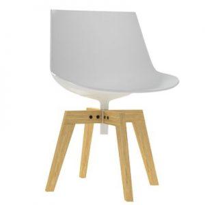 MDF Italia Flow Chair stoel met naturel eiken onderstel wit