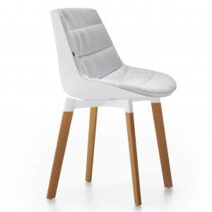 MDF Italia Flow Color Cross Oak gestoffeerde stoel wit stofsoort Winter
