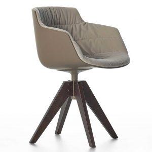 MDF Italia Flow Slim Color VN Oak stoel gestoffeerd bruin Londra R304